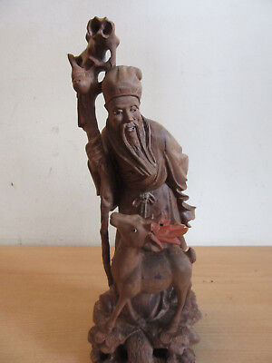 Antique Chinese highly carved wood statue Old Man with Deer 12.5""