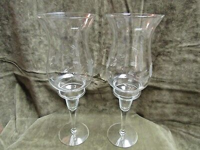 Vintage 1980's  Clear Glass Hurricane Shade Candleholders pair Cut Floral Motif