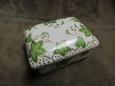 Vintage 1950's Porcelain China Cigarette or Card Box White with Green Ivy leaves