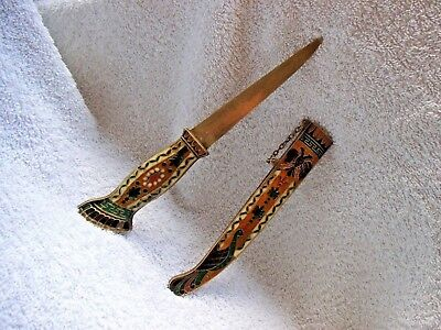 Antique Cloisonne Letter Opener Heavy Brass Metal With Sheath