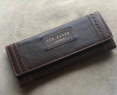 Ted Baker Brogue Brown Foldable Glasses Case Bnib