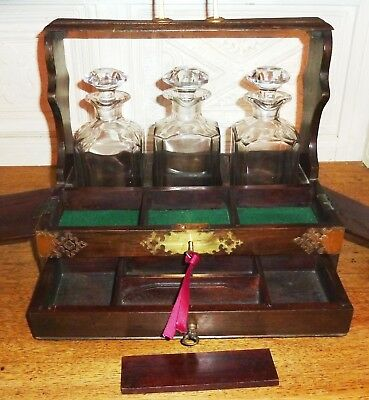 Vintage Tantalus 3 Crystal Decanters Rosewood & Brass Lockable Case With Key
