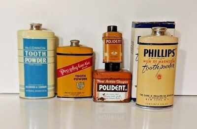 Lot of Five (5) Vintage Tin Bottles Tooth Powder (some with powder). McConnon+