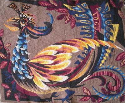 """VINTAGE completed GOLD BIRD ROYAL PARIS cotton  needlepoint 30""""x24"""""""