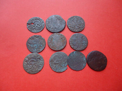 Lot of 10 Medieval Silver and Copper Coins. Sweden, Poland, Lithuania.