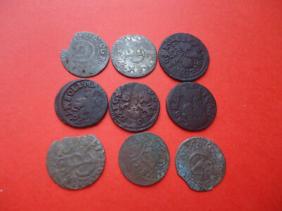 Lot of 9 Medieval Silver and Copper Coins. Sweden, Poland, Lithuania.