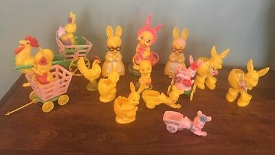 1950`s Vtg Lot of 14 Plastic Easter Bunny Knickerbocker Rosbro Rosen CandyToys