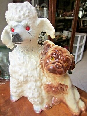 """Vintage 1950's Kron TV Lamp, Poodle & Pug Dog w/glass eyes, 13"""" tall by 12"""" long"""
