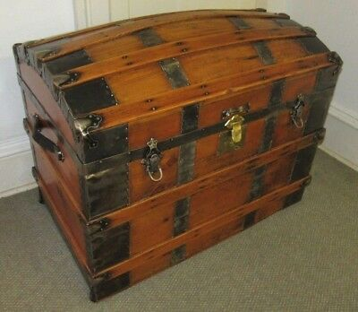 Antique Steamer Trunk Vintage Victorian Domed / Round Top Wedding / Brides Chest