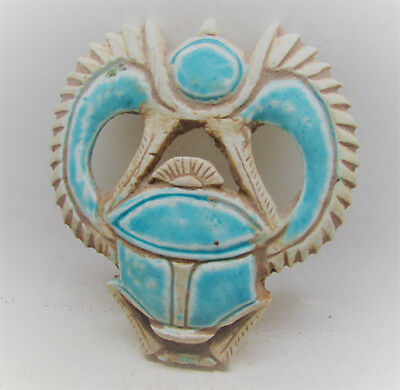 Beautiful Ancient Egyptian Glazed Faience Winged Scarab Icon Rare