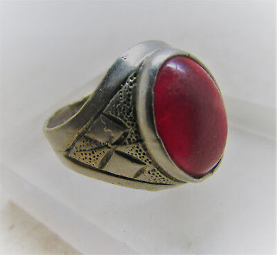 Beautiful Post Medieval Decorated Silvered Ring With Carnelian Insert