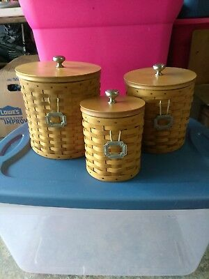 Longaberger Canister Baskets Set Of 3 With Ties