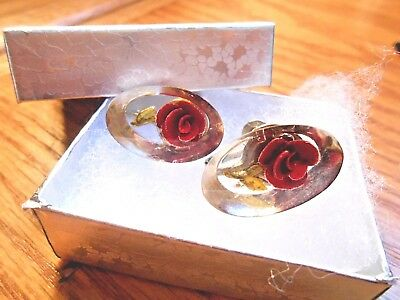 Vintage Reverse Carved Lucite Red Rose Oval Screw Back Earrings 7/8 inch