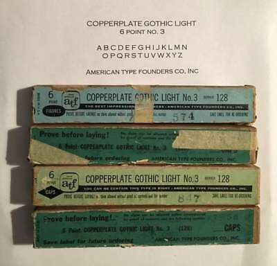 Letterpress Metal Type COPPERPLATE Gothic Light 6 Point 4 Boxes Printer's Estate