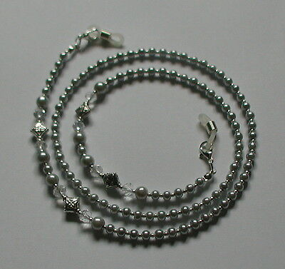 Classic Silver Grey Glass Pearl Beads Elegant Glasses Chain Spectacles Holder
