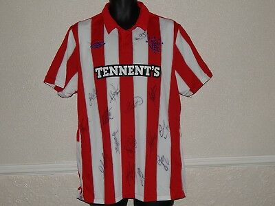 Glasgow Rangers Fc Football 2010-11 Team Signed Away Shirt Jersey  ,mens L