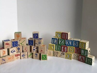 Disney Winnie The Pooh and Other Random Letter/Picture 40 Wooden Blocks LOT