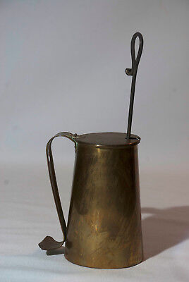 "Vintage Brass Cape Cod Fire Starter Bucket with 12"" Hand Tool Metal"