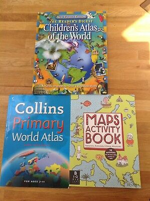 2 Children's Atlases And A Maps Activity Book