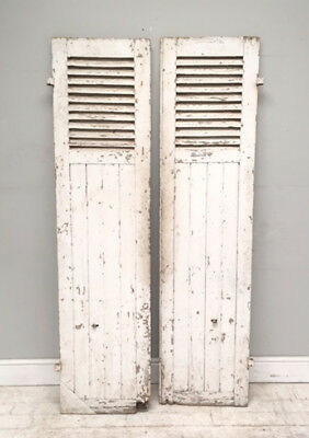 Large Old Painted Heavy Pair of French Antique Window Shutters - Original