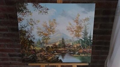 Canvas Oil Painting Landscape Countryside Forest Cottage Farm House Wood Signed