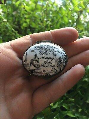 "18TH C. RARE BATTERSEA PILL/PATCH BOX ""in Memory Of A Friend"""
