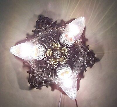 Vtg Art Deco Cast Iron Flush Ceiling Fixture Three Light 3 Rewired USA #K98