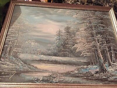 WHITNEY  Snowy Wooded Landscape Oil Painting