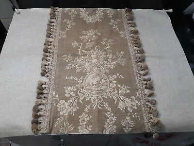 Custom Made French Country Waverly Toile And High End Linen Table Runner