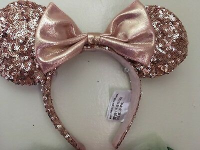 Disney Parks Rose Gold Minnie Mouse Ears Headband New without tags