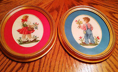 2 Vintage Oval Framed Needlepoint Pictures Of Boy And Girl w Flowers