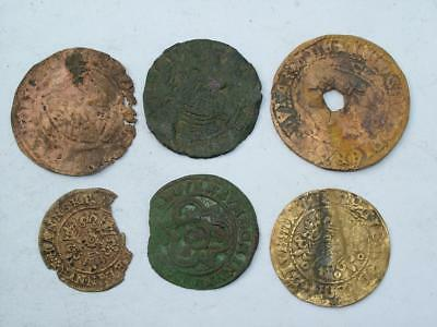 COLLECTION OF 6 15th & 16th CENTURY BRASS JETON TOKEN COINS THAMES FINDS LOT 12