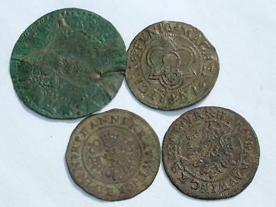 4 x 16th EARLY 17th CENTURY JETON COUNTERS COINS TOKENS - LOT 20