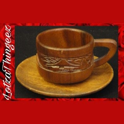 EHUC Genuine MonkeyPod Cup & Saucer from Hawaii Carved Huts Volcano Surf