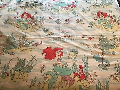 Vintage 1990's Disney Little Mermaid Twin Flat Sheet Ariel Triton Flounder