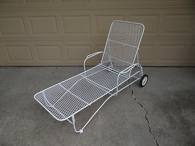 Vintage Wrought Iron Patio Chaise Lounge