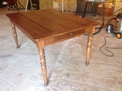 Antique French Farmhouse Dining Table Oak And Walnut