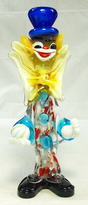 """Vintage Murano 13"""" End Of The Day Red Splattered Clown W/ball In Hand #360"""