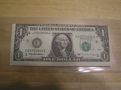 F R N 1995 $1 Dollar, 1st Print Shift, 2nd Print Green Correct position