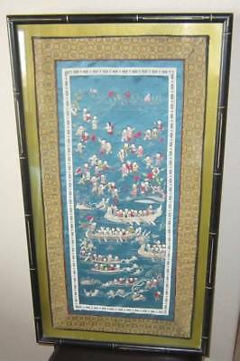 Antique Chinese Asian Silk Embroidery Framed (1000 Faces)