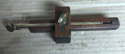 Vintage Wood And Brass Mortise Guage