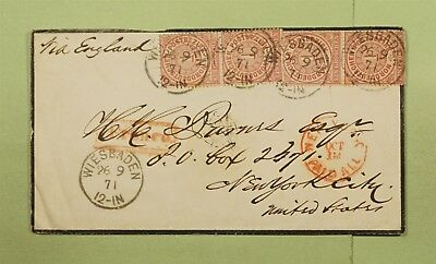DR WHO 1871 GERMANY WIESBADEN PAIR MOURNING COVER TO USA POSTAGE DUE? d66405