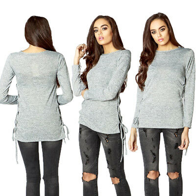 Womens Grey Top Lace Up Long Sleeve Jumper Blouse Shirt Ladies Size New UK Size