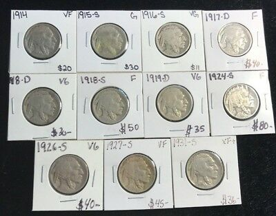 VINTAGE United States Coin Lot Of 11 Buffalo Nickels 1910s-1930s KEY DATES