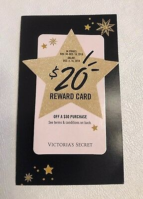 NEW Victoria's Secret Holiday Reward Card $20 off $50 In Store or Online