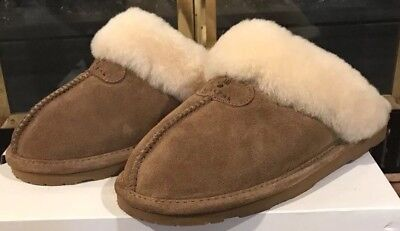 bf230883384c Brand New Bearpaw Loki Ii Suede Sheepskin Scuff Slippers Hickory Sz. 7 Free  Ship