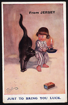 """LUCKY BLACK CAT """"Just to bring you luck from Jersey"""""""