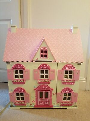 Wooden Kids Doll House With Furniture & Dolls