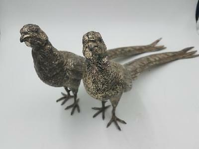 """Two 14"""" Heavy Bronze Silver Plated Pheasant Statues (AP1054445)"""
