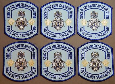 Six 6 BSA Boy Scout / Eagle Sons of The American Revolution Scholarship Patches